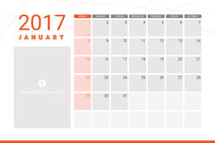 January 2017 calendar. With space for picture Stock Photography