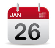 January calendar stand up. Red calendar of january santd up Stock Image