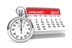 January 2017 calendar with stopwatch. 3d rendering. 2017 year calendar. January calendar with stopwatch on a white background. 3d rendering Stock Photo
