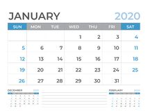 January 2020 Calendar template, Desk calendar layout  Size 8 x 6 inch, planner design, week starts on sunday, stationery design