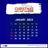 2019 January Calendar Template. merry Christmas and Happy new year blue background stock illustration