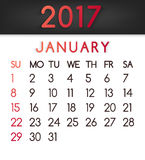 January 2017 calendar vector in a flat style in red tones. Week starts on Sunday Stock Photos