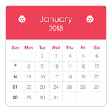 January 2018 calendar vector illustration. Simple and clean design Stock Images