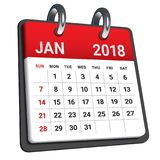 January 2018 calendar vector illustration. Simple and clean design Royalty Free Stock Photos