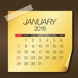 January 2018 calendar vector illustration. Simple and clean design Royalty Free Stock Image