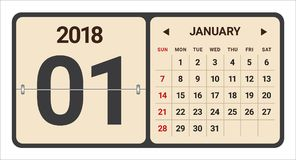 January 2018 calendar vector illustration. Simple and clean design Royalty Free Stock Photography