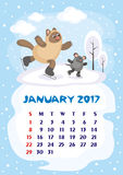 January 2017 calendar. Wall calendar for January,  2017 with an amusing cat. Fun children`s illustration in cartoon style. Colorful background. Vertical Royalty Free Stock Image