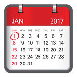 1 January calendar on white background. Royalty Free Stock Image