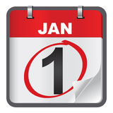 1 January calendar on white background. Stock Images
