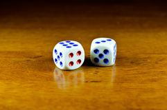 01 JANUARY 2017; CLOSE UP DICE ON THE TABLE Stock Photography