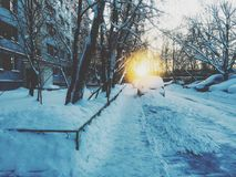 January. Cold and snowy January day Royalty Free Stock Photo