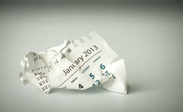 January. Crumpled calendar sheet Stock Photos