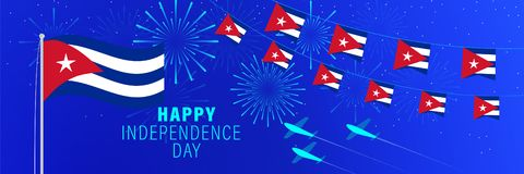 January 1 Cuba Independence Day greeting card.  Celebration background with fireworks, flags, flagpole and text. Vector illustration stock illustration