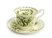 January Cup and Saucer Royalty Free Stock Photos
