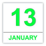 January 13. Day on the calendar. Royalty Free Stock Photos