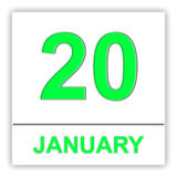 January 20. Day on the calendar. Royalty Free Stock Photo