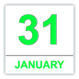 January 31. Day on the calendar. Royalty Free Stock Photo