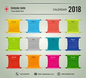 January-December Desktop Calendar  2018 year. Week starts Monday. Vector  stationery color. Yearly calendar template set of 12 months Printing layout artwork Royalty Free Stock Photo