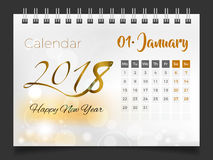 January 2018. Desk Calendar 2018 Royalty Free Stock Photos