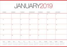 January 2019 desk calendar vector illustration. Simple and clean design royalty free illustration