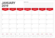 January 2019 desk calendar vector illustration. Simple and clean design vector illustration
