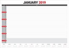 January 2019 desk calendar vector illustration. Simple and clean design stock illustration