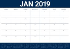 January 2019 desk calendar vector illustration, simple and clean design.  vector illustration