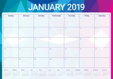 January 2019 desk calendar vector illustration, simple and clean design stock illustration