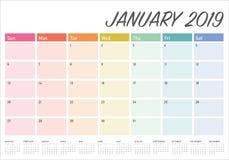 January 2019 desk calendar vector illustration, simple and clean design royalty free illustration