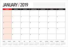 January 2019 desk calendar vector illustration, simple and clean design.  stock illustration
