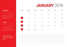 January 2018 desk calendar vector illustration. Simple and clean design Stock Photos