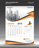 January Desk calendar 2018 year Size 6x8 inch vertical. January Desk Calendar 2018 Template design flyer vector, business brochure layout, Size 6x8 inch vertical Stock Photography