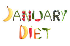 January diet. Made with seeds, fruits and vegetables royalty free stock images