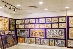 January 27, 2019 - Egypt, Sharm El-Sheikh. Papyrus painting displayed in store royalty free stock images
