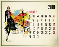 January. 2018 European calendar with fashion girl. In sketch style Stock Images