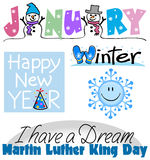 January Events Clip Art Set Stock Images