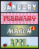 January february march april. Illustration of the months January February March April. sotck 1 Royalty Free Stock Photo