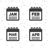 January, February, March and April icons. Calendar symbols. Eps10 Vector Stock Photography