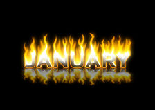 January on Fire. January Text on Fire with Reflection Vector Illustration