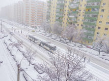 January 2016 first snow in bucharest Royalty Free Stock Photos