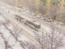 January 2016 first snow in bucharest Stock Photos