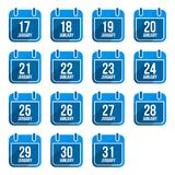 January  flat calendar icons with long Royalty Free Stock Image
