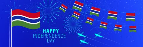 January 18 Gambia Independence Day greeting card.  Celebration background with fireworks, flags, flagpole and text. Vector illustration stock illustration