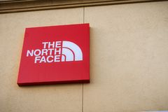 January 15, 2018 Gilroy / CA / USA - The North Face logo above the entrance to the store located at the Gilroy Premium Outlets in. South San Francisco bay area stock photos