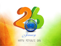 26 January, Happy Indian Republic Day celebration concept. 3D national flag color text 26 January with glossy Ashoka Wheel for Indian Republic Day celebration Royalty Free Stock Photography