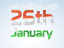 26 January, Happy Indian Republic Day celebration concept. Shiny national tricolor text 26th January for Happy Indian Republic Day celebration on cloudy sky Stock Photo