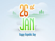 26 January, Happy Indian Republic Day celebration with text. National flag color text 26th January for Happy Indian Republic Day celebration on nature view Royalty Free Stock Image