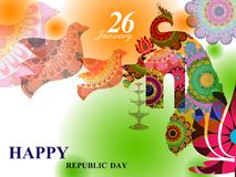 26 January Happy Republic Day of India background. Vector illustration of 26 January Happy Republic Day of India background Royalty Free Stock Photography