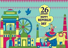 26 January Happy Republic Day of India background. Vector illustration of 26 January Happy Republic Day of India background Royalty Free Stock Image
