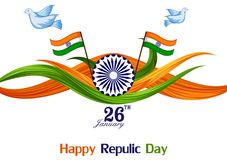 26 January Happy Republic Day of India background. Vector illustration of 26 January Happy Republic Day of India background Stock Images